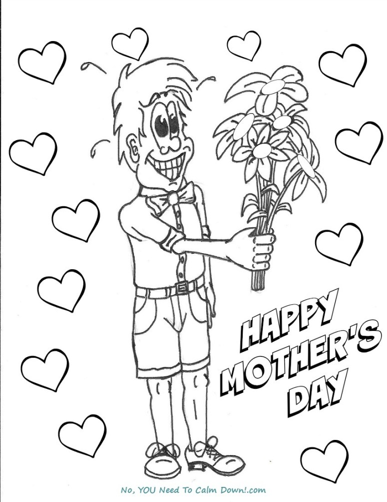 Boy with Flowers Mother's Day Coloring Page - Free Printable