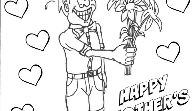 Boy With Flowers Mother's Day Coloring Page
