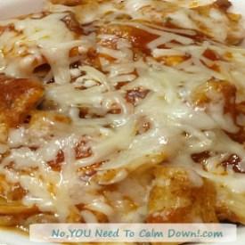 Spaghetti Casserole with Marinara and Cheesy White Sauce