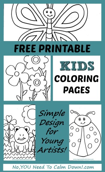 Free Printable kids coloring pages - simple designs for young artists - flowers,butterfly,frog,ladybug.