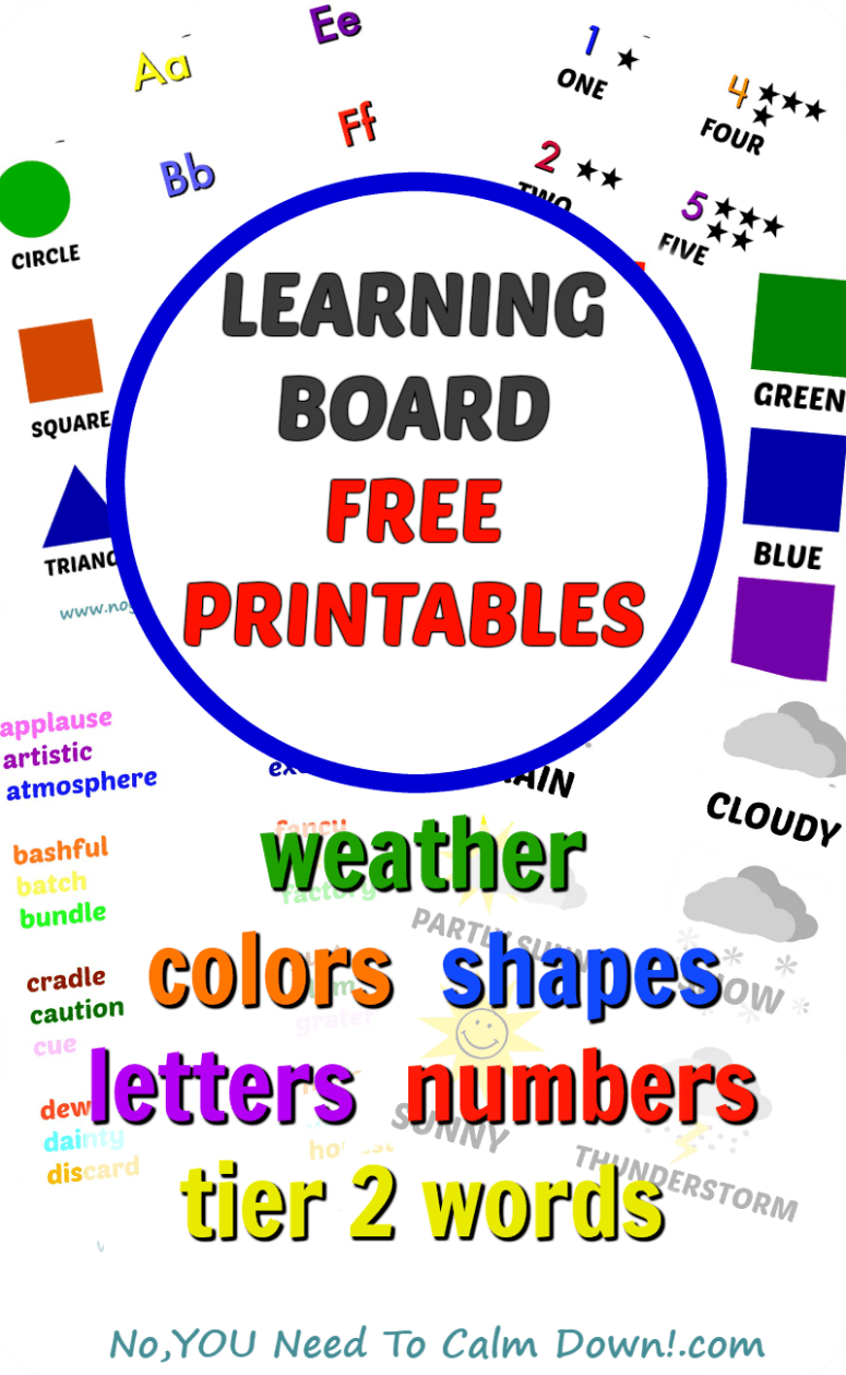 Free printables for your learning board. For homeschooling or everyday learning boards. Print out weather, alphabet, numbers, shapes, colors, and tier 2 words.