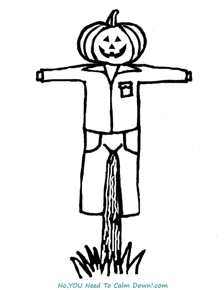 Scarecrow Coloring Page For Kids Free Printable No You Need To Calm Down
