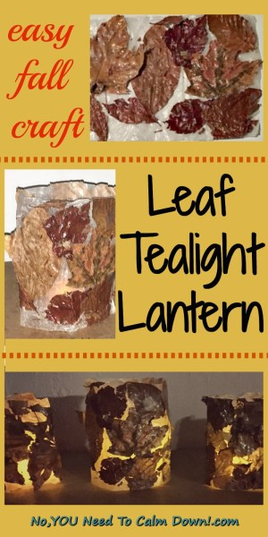 Make this easy fall craft with all the beautiful leaves the kids collect on their nature walks. This leaf tealight lantern makes a pretty fall decoration inside or out! #fallcraft #leaflantern #diytealightlantern #falldecor