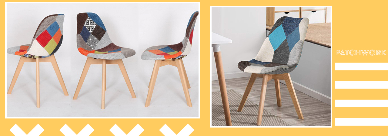 chaises scandinaves patchworks