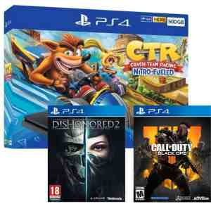 Consola PS4 Slim 500GB + Crash Team Racing + Call Of Duty Black Ops IV + Dishonored 2