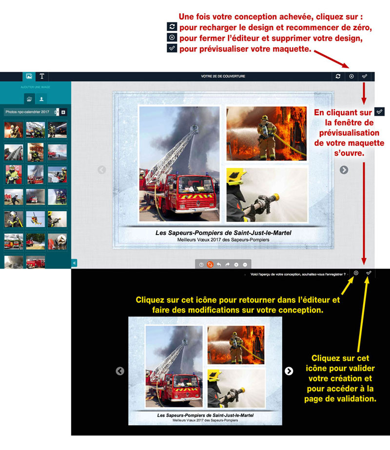tutoriel de personnalisation en ligne de calendrier de sapeur-pompier 10, npc-calendrier.fr