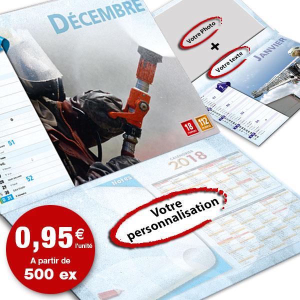 calendrier de pompier personnalisé texte et photo, npc calendrier 12+4 option 2