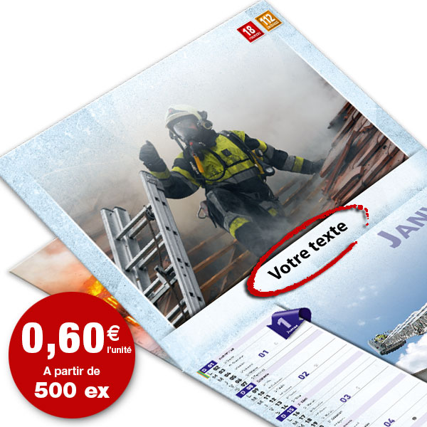 calendrier de pompier personnalisé texte et photo, npc calendrier 12+4 standard