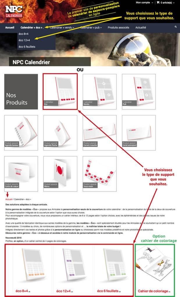tutoriel de personnalisation en ligne de calendrier de sapeur-pompier 41, npc-calendrier.fr