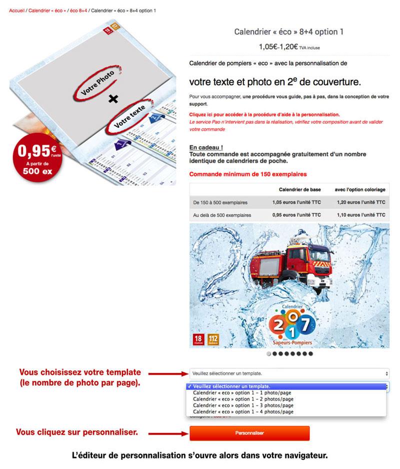 tutoriel de personnalisation en ligne de calendrier de sapeur-pompier 29, npc-calendrier.fr