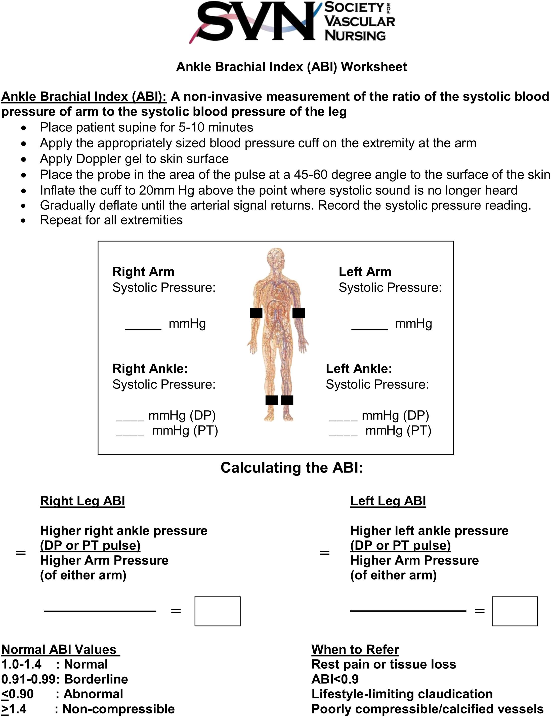 Lower Extremity Arterial Worksheet