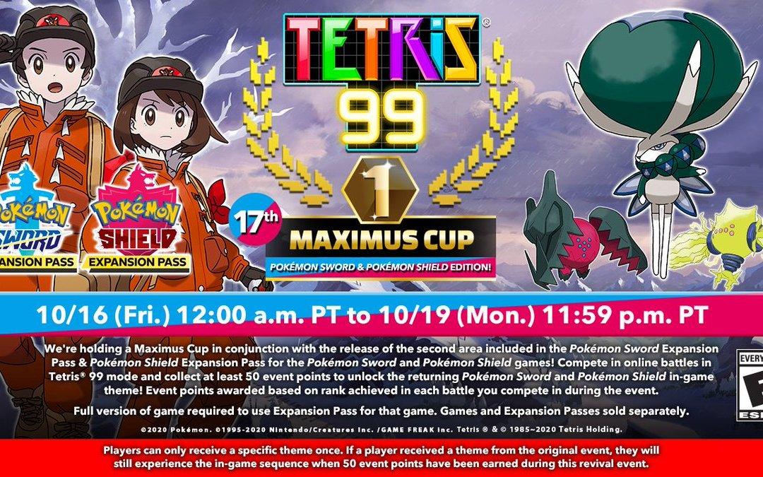 Tetris 99: questo weekend ritorna la Maximus Cup dedicata a Pokémon Spada e Scudo