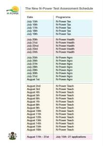 Npower Test Time Table
