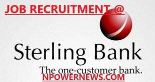 Sterling Bank plc job recruitment Team Lead Credit Monitoring 2020