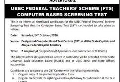 UBEC FTS Federal Teachers Scheme Screening Test Date Timetable is out 2020/2021