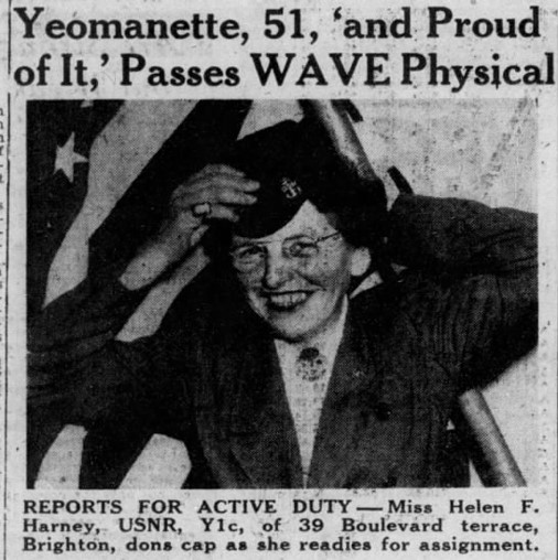 """News clipping with title """"Yeomanette, 51, and proud of it passes WAVE Physical"""" with photograph of woman putting on a military cap"""
