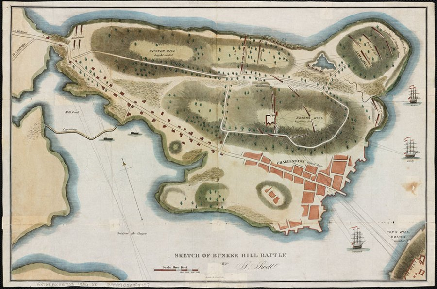 Fields of Deception   The Bunker Hill Battlefield  U S  National     Charlestown Peninsula in 1775 showing the positions of the Provincial  forces and locations of Royal Navy