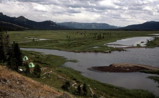 Backcountry campsite near Beaverdam Creek in Yellowstone.