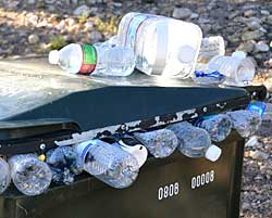 water bottles filling container