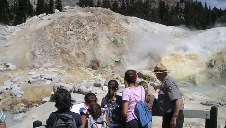 Visitors explore Bumpass Hell during a ranger-led program