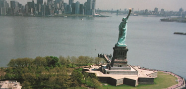 Aerial of Liberty Island
