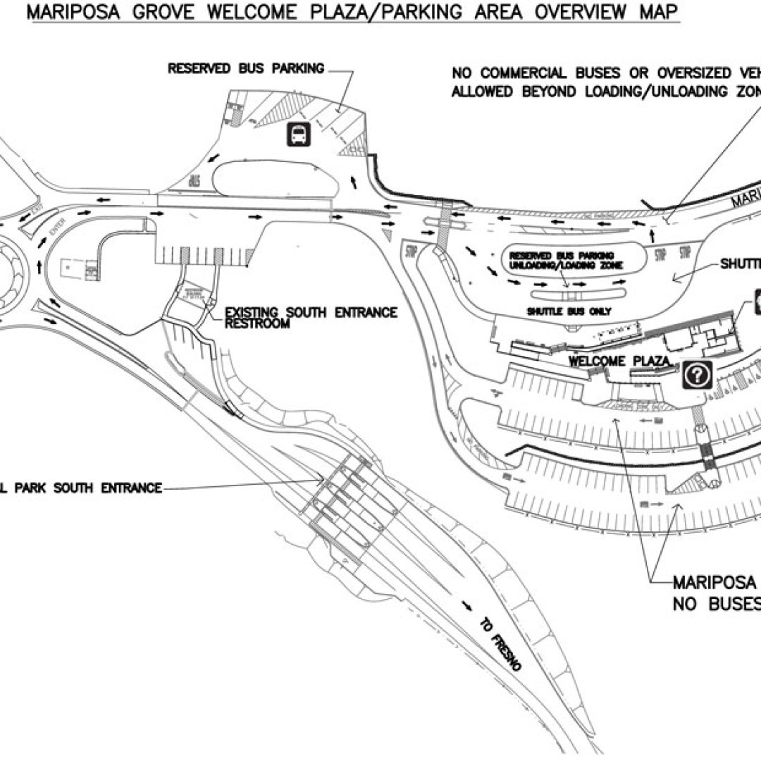 Map showing bus parking just north of the main parking area for Mariposa Grove at South Entrance