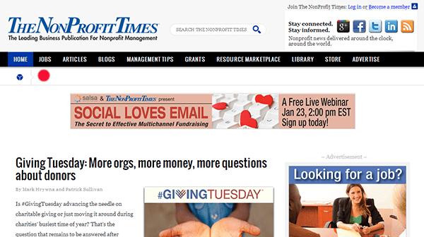 nonprofit times nonprofit jobs