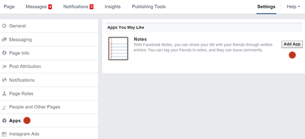 Add the Facebook Notes App