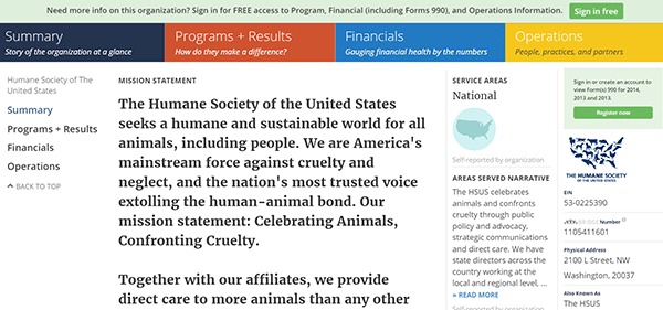 humane society on guidestar 2
