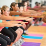 Group of adults participating in a fitness class.