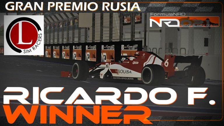Ricardo F. en forma, 3 victoria seguida en Sochi bajo la lluvia.