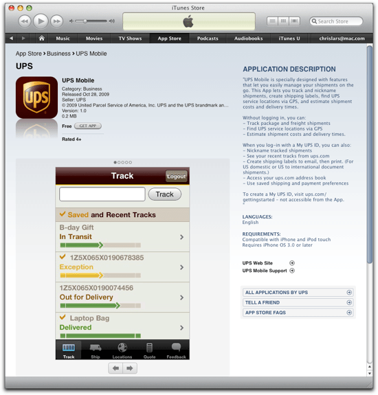 UPS iPhone app now in App Store | NRG Software
