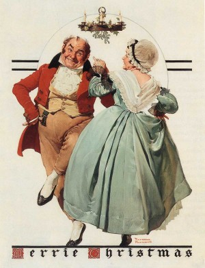 Merrie Christmas Couple Dancing Under Mistletoe Norman