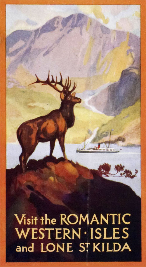 A poster from the 1920s which advertised steamer boats going to St Kilda. This was a tourist destination before the island was deserted in 1930 following a terrible crop and destitute conditions by the inhabitants. Eventually they were forced to leave to the main land, never to return.