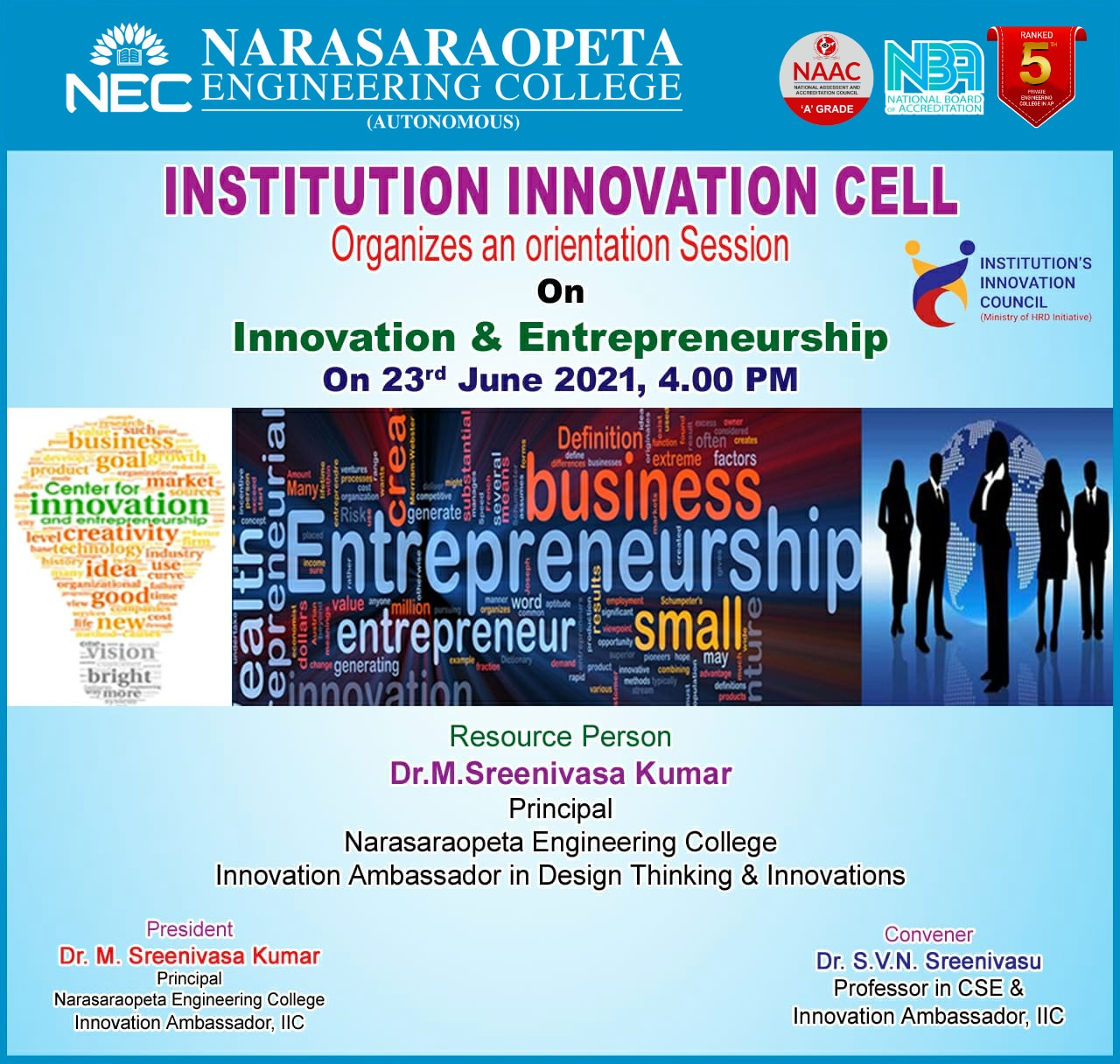 Institution Innovation Cell Organise an Orientation session on Innovation and Entrepreneurship on 23-06-2021