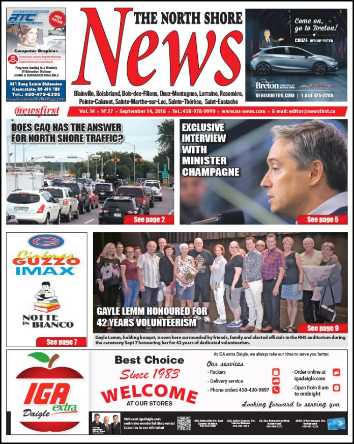Front page image of the North Shore News 14-17.
