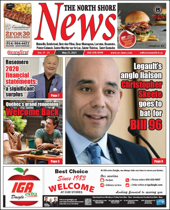 Front page of The North Shore News, May 14th, 2021 issue.