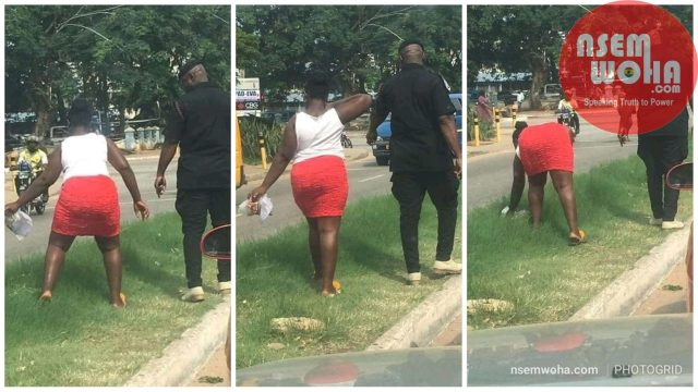 polices makes lady pickup litter in Kumasi streets