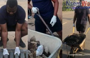 John Dumelo cleans gutters at abelenkpe Accra