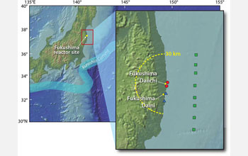 Map showing 30 km area around Fukushima reactor site affected by released radioactivity.