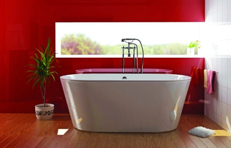 Red Coloured Glass Bath Panel