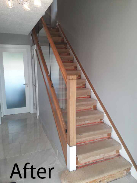 stairs after glass panels are inserted