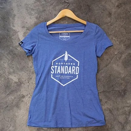 Light blue Northern Standard women's logo tee