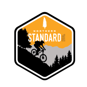 Illustrated Northern Standard mountain biker sticker