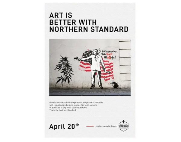 """Northern Standard vintage illustrated """"Banksy"""" poster."""