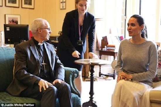 OMG! Angelina Jolie Goes Braless For Meeting With Anglican Leader