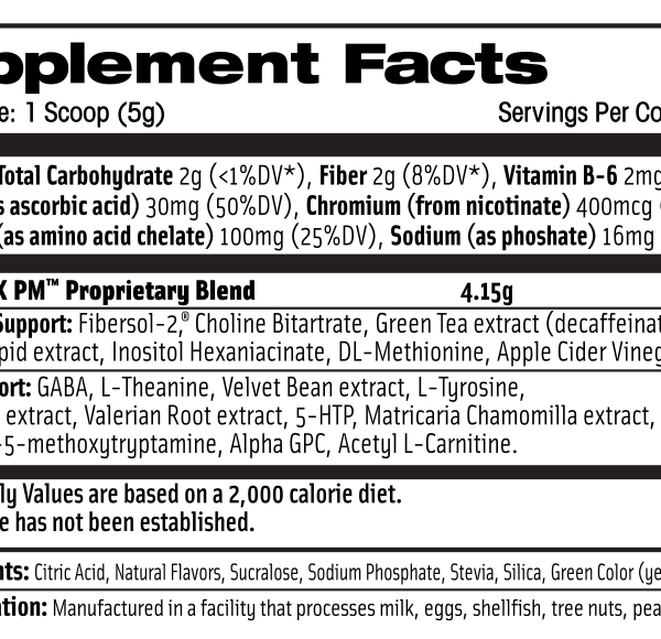 thermovex pm supplement facts