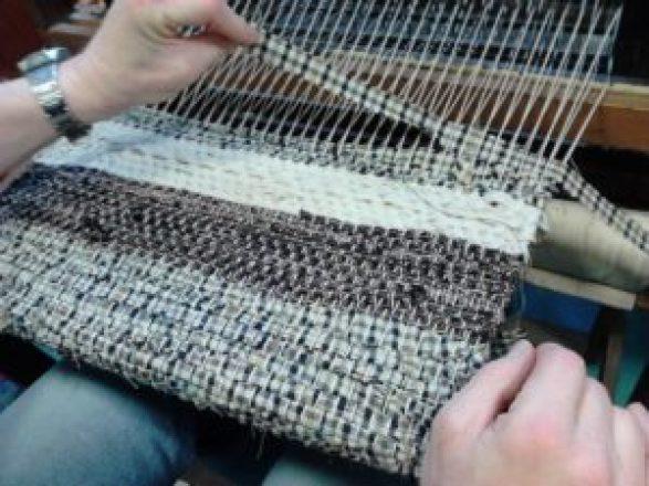 Dulkara weaving with fabric strips.