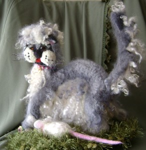 Liudmila Abramova: Royal Easter Show Winner 2009 (First and Standard of Excellence) Felted Taby Moona and white Mouse Fluff