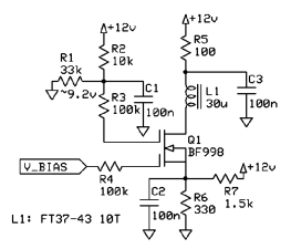 Schematic for Dual Gate MOSFET Bias Experiment